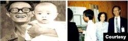 """Trái, Trung uý Thám Báo Trần Hoài Thư với hạnh phúc được bồng con (1974); phải,Trần Qúi Thoại con trai Trần Hoài Thư tại Hội chợ Science Fair do Bell Lab bảo trợ và tổ chức. Thoại đang thuyết trình về công trình nghiên cứu khoa học """"The magnetic field of a Superconductor"""" được một giải thưởng cho công trình nghiên cứu này. Trần Hoài Thư và Ngọc Yến có mặt và hãnh diện với đứa con của mình. Rồi không thể không chạnh nghĩ, Thoại với gốc là con một sĩ quan """"nguỵ"""" nếu như còn kẹt lại ở Việt Nam, chắc nó chỉ là một đứa trẻ chăn trâu. Nay tới được một lục địa mới, một đất nước mới, nó có cơ hội làm đủ mọi điều để phát triển. Trần Qúi Thoại nay đã là một bác sĩ y khoa. [ nguồn: tư liệu Trần Hoài Thư ]"""