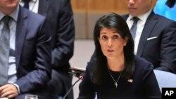 Ambasaderi wa Reta Zunze Ubumwe za Amerika mw'ishirahamwe mpuzamakungu ONU, Nikki Haley yatangaje k'igihe kigeze ko bakoresha uburyo bwose bushoboka bwerekeye ibiganiro imbere yuko igihe kirengana