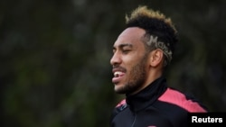 Arsenal, Pierre-Emerick Aubameyang, sur le terrain d'Arsenal à Londres, le 4 avril 2018