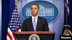奥巴马总统2013年12月20号在白宫举行的年终记者会。