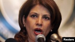 FILE - Pakistan's Foreign Ministry spokeswoman Tasnim Aslam speaks during a news conference at the Foreign Ministry in Islamabad.