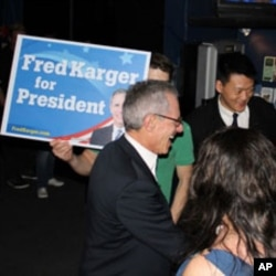 "Karger's campaign event was held at ""New Hampshire's favorite gay and alternative bar,"" January 8, 2012."