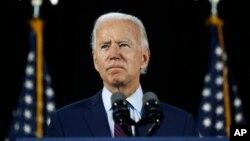 Joe Biden berbicara dalam kampanye di Lancaster, Pennsylvania, 25 Juni 2020.