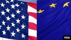美国国旗和欧盟旗帜