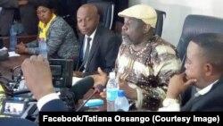 Franck Diongo, mokambi ya MLP, na bokutani na bapanzi sango, na Kinshasa, le 2 avril 2019. (Facebook/Tatiana Ossango)
