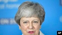La primera ministra británica, Theresa May, habla en un evento de la campaña electoral de la UE en Bristol, Inglaterra. Foto de archivo.