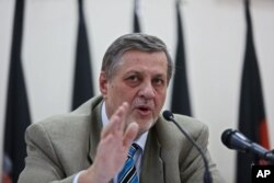 Jan Kubis, United Nation representative for Afghanistan, speaks during a press conference in Kabul, July 13, 2014.