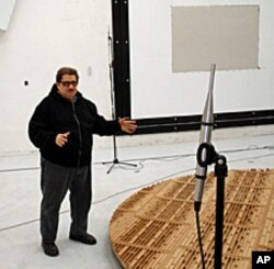 NWAA Labs president Ron Sauro shows off his reverberation room, which is located in an abandoned nuclear plant.