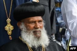 Abune Merkorios, the 4th Patriarch of Ethiopian Orthodox Tewahedo Church, arrives in Addis Ababa, Aug. 1, 2018, as he returns from an exile of more than 26 years, in the U.S.