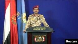 Yahya Sarea, juru bicara militer Houthi saat memberikan konfirmas di Yemen bahwa pihaknya bertanggung jawab atas serangan drone terhadap fasilitas minyak Arab Saudi, 14 Mei 2019.