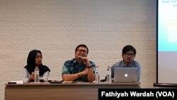 Setara Institute for Democracy and Peace dalam konferensi pers di Jakarta, Kamis, 7 November 2019. (Foto: Fathiyah Wardah/VOA)