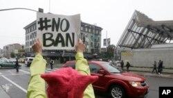 Protestation contre le décret du président Trump devant la Cour d'appel fédérale de San Francisco, le 7 février 2017.