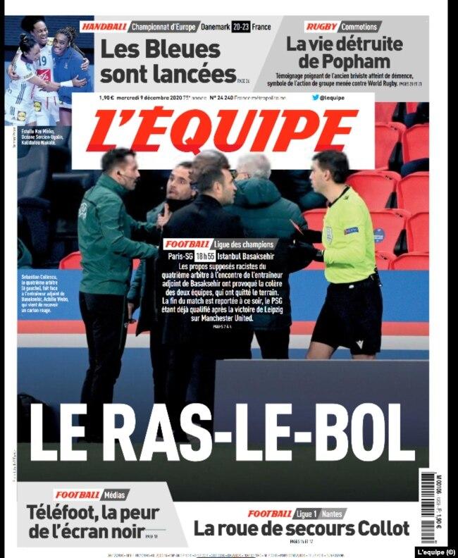 """Fransa'nın en yüksek tiraja sahip spor gazetelerinden L'Equipe bugün """"Yetti artık"""" manşetiyle yayımlandı"""