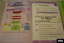 葉建源表示,左頁的圖表解釋北京與香港特區的關係,將香港放在港澳辦之下,貶低香港地位。(美國之音湯惠芸)