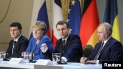 უკრაინის, გერმანიის, საფრანგეთის და რუსეთის ლიდერების ერთობლივი პრესკონფერენცია. პარიზი, 9 დეკემბერი, 2019 წ.