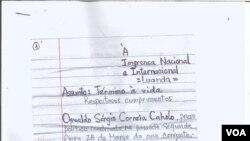 Carta do activista angolano Osvaldo Caholo, página 1
