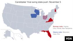 미국 대통령 선거를 하루 앞둔 5일 바락 오바마 대통령(파란색)과 미트 롬니 공화당 후보(빨간색)의 유세 지역.