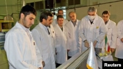 Iran's President Mahmoud Ahmadinejad (2nd L) attends an unveiling ceremony of new nuclear projects, in Tehran, Iran, February 15, 2012.