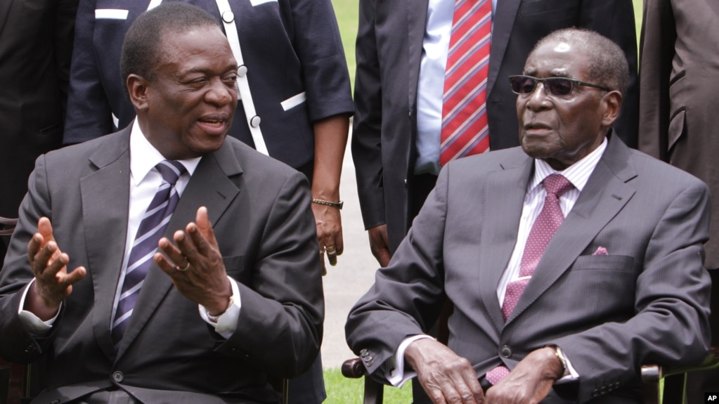 File Emmerson Mnangagwa And Then Zimbabwean President Robert Mugabe After The Swearing In Ceremony At