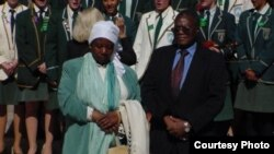 Former cabinet minister Kumbirai Kangai seen in this file photo with his wife at a state function in Harare.