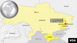 Peta pesawat Malaysia Airlines yang ditembak jatuh di wilayah Rozsypne, Donestk, Ukraina timur (foto: dok).