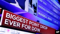 A television screen on the floor of the New York Stock Exchange headlines the stock index news at the close of trading, Feb. 5, 2018.