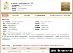 中国国家工商行政管理总局网站有关脸书杭州公司的登记资料截屏