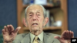 "Harold Camping speaks during a taping of his show ""Open Forum"" during which he said his prophecy that the world would end was off by five months because Judgment Day actually will come on October 21, in Oakland, California, May 23, 2011"