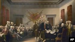 画家描绘独立宣言起草小组把宣言递交给大陆会议