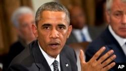 Presiden Amerika Serikat, Barack Obama membahas masalah Ebola di ruang kabinet Gedung Putih, Washington DC (15/10).