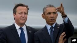 奧巴馬和卡梅倫星期五在威爾斯舉行的北約領導人會議上