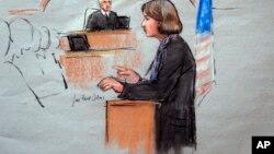 تصویر جودی کلارک، وکیل مدافع جوهر سارنایف در برابر جورج اوتول رئیس دادگاه فدرال رسیدگی به بمب گذاری در بوستون. ۴ مارس ۲۰۱۵