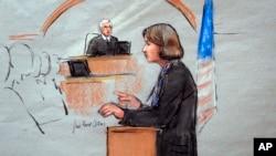 នៅក្នុងរូបគំនូរពីបន្ទប់តុលាការ មេធាវីការពារកូនក្តី Judy Clarke កំពុងថ្លែងទៅកាន់ចៅក្រម George O'Toole Jr. នៅថ្ងៃទីមួយនៃរឿងក្តីទោសប្រហារជីវិតរបស់ជនសង្ស័យបផ្ទុះគ្រាប់បែក Dzhokhar Tsarnaev។