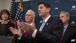 House Speaker Paul Ryan (foreground) is joined by fellow Republicans, including Vice President-elect Mike Pence (second left), at a news conference following a closed-door meeting at the Capitol in Washington, Jan. 4, 2017. Both Ryan and Pence have vowed to repeal and replace President Obama's healthcare law now that their party is in control of the White House and Congress.