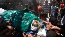 팔레스타인 가자지구에서 열린 희생자 장례식 장면