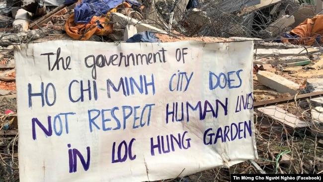 Một băng rôn phản đối cưỡng chế ở Vườn rau Lộc Hưng.