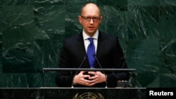 Ukrainian Prime Minister Arseniy Yatsenyuk addresses the 69th United Nations General Assembly at the U.N. headquarters in New York September 24, 2014.