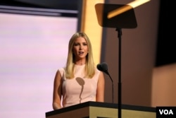 A businesswoman and former model, Ivanka Trump's speech was peppered with stories from her childhood. She says Donald Trump has made wage equality a practice in his company throughout his entire career. (A. Shaker/VOA)