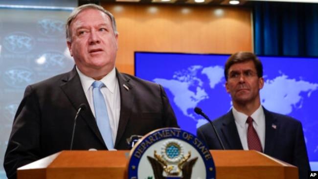 美国国务卿蓬佩奥6月11日在国务院举行记者会。