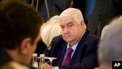 2013年2月25日叙利亚外长瓦利德•穆阿利姆出席莫斯科会议中的照片。