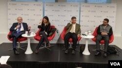 Tres expertos opinaron sobre las crisis desatadas en Bolivia y Chile en la sede de Diálogo Interamericano, en Washington, D.C.