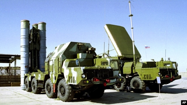 A Russian S-300 anti-aircraft missile system is on display in an undisclosed location in Russia.