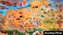 Peta wilayah Tibet.