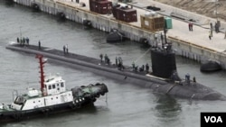 Kapal selam bertenaga nuklir USS Texas tiba di pangkalan angkatan laut Busan, Korea Selatan (Foto: dok). Korea Selatan memenangkan tender untuk membuat kapal selam untuk Indonesia.