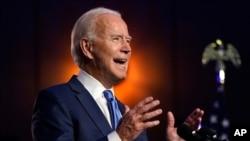FILE - Former Vice President Joe Biden, now president-elect, speaks Nov. 6, 2020, in Wilmington, Del.