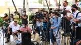 Periodistas en una cobertura en Managua, Nicaragua. Foto Houston Castillo, VOA.