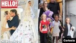 Angelina Jolie y Brad Pitt autorizaron a la revista People de EE.UU y Hello! del Reino Unido para publicar las fotos de su boda. [Foto: Cortesía New York Post, Twitter].