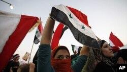 2011年9月29号叙利亚妇女在叙利亚驻约旦大使馆前抗议杀害和折磨妇女