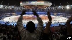 在新德里举行的英联邦第19届运动会的开幕式