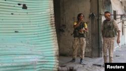敘利亞阿勒頗破落的街道。(8月7日)